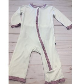 Kickee Pants Solid Classic Ruffle Coverall with Zipper Natural with Sweet Pea 0-3M