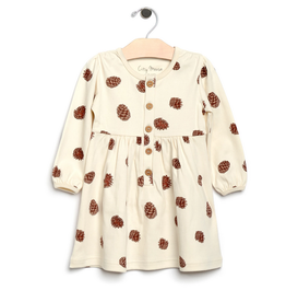 City Mouse Pine Cone Dress - Natural 3T