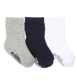 Robeez 3 Pk Socks, Basics Navy/Grey/White 2-4Y