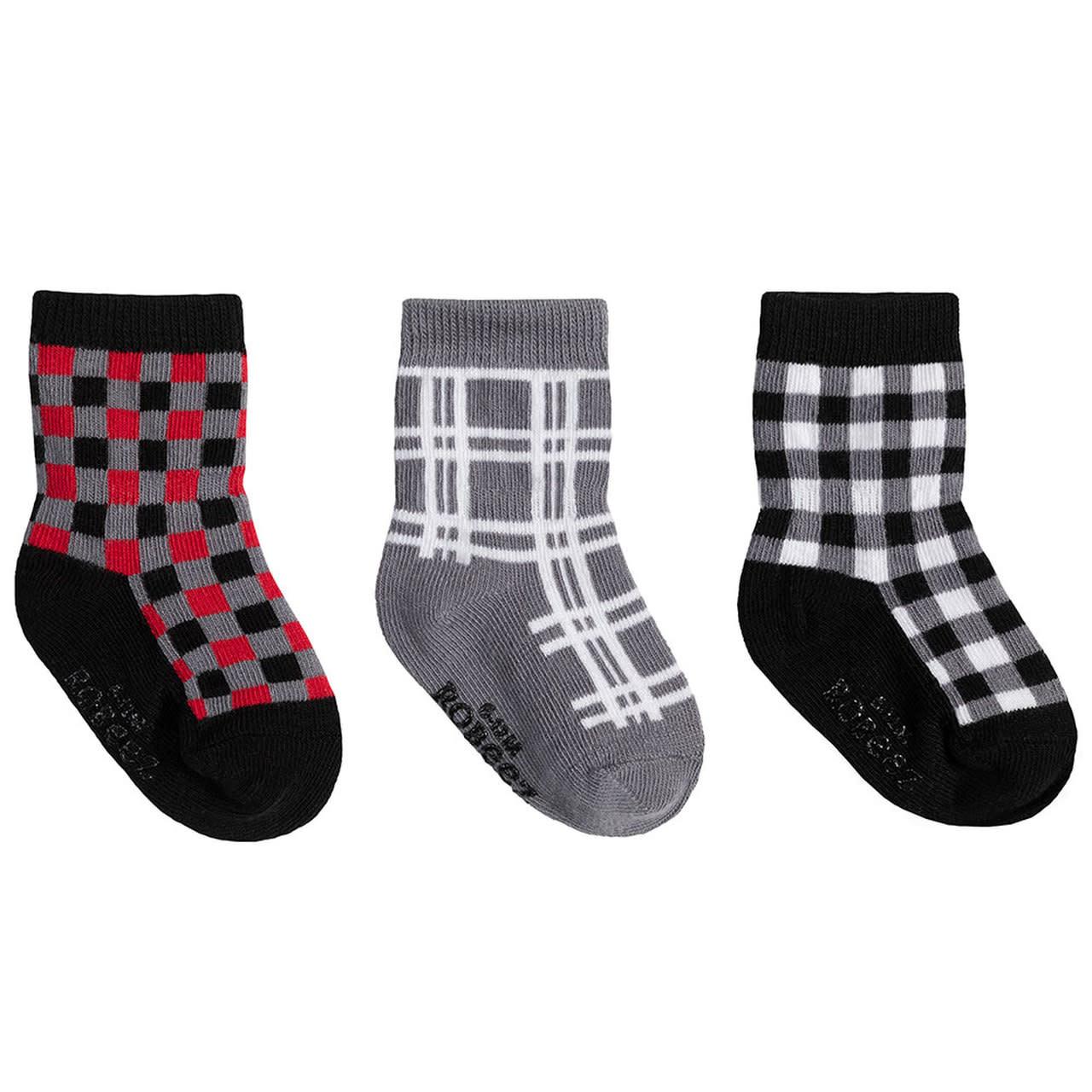 Robeez 3 Pk Socks, Buffalo Plaid 12-24m
