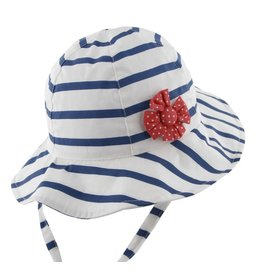 Millymook and Dozer Baby Girls Bucket Hat - Skipper White/Navy (no flower) L (12-24m)