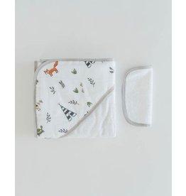 Little Unicorn Cotton Hooded Towel Set, Forest Friends