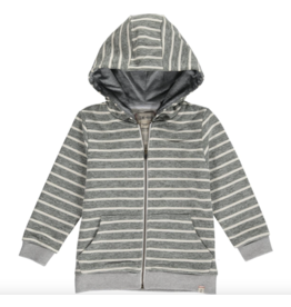 Me + Henry Green/Cream Stripe Hooded Top, Baby 0-3M