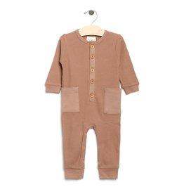 City Mouse Waffle Button Romper Caramel 18-24M