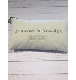 Mud Pie Grandma Grandpa Est. 2019 Canvas Pillow