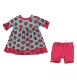 Kickee Pants Print Short Sleeve Babydoll Outfit Set, Neptune Watermelon