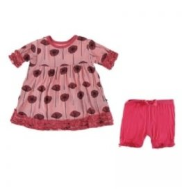 Kickee Pants Print Short Sleeve Babydoll Outfit Set, Strawberry Poppies