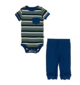 Kickee Pants Print Short Sleeve Pocket One Piece and Pant Outfit Set, Botany Grasshopper Stripe