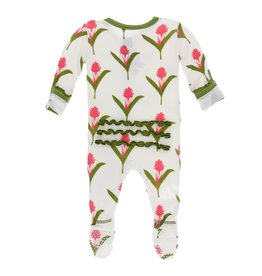 Kickee Pants Print Classic Ruffle Footie with Zipper, Natural Red Ginger Flowers