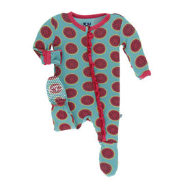 Kickee Pants Print Muffin Ruffle Footie with Zipper, Neptune Watermelon