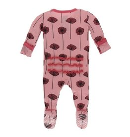 Kickee Pants Print Muffin Ruffle Footie with Zipper, Strawberry Poppies