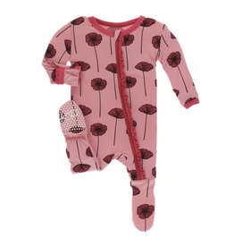 Kickee Pants Print Classic Ruffle Footie with Zipper, Strawberry Poppies