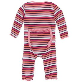 Kickee Pants Print Classic Ruffle Coverall with Zipper, Botany Red Ginger Stripe
