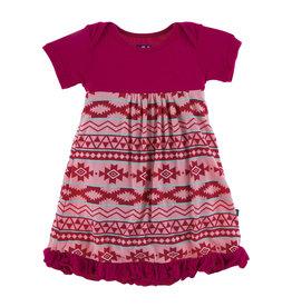Kickee Pants Print Classic S/S Swing Dress Strawberry Mayan Pattern 4T