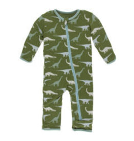 Kickee Pants Applique Coverall with Zipper Moss Sauropods 0-3M