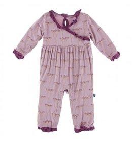Kickee Pants Print L/S Kimono Ruffle Romper Cooksonia 3-6M
