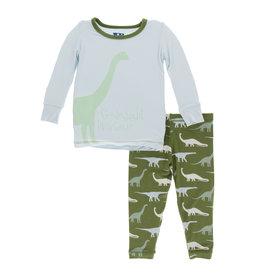 Kickee Pants Print L/S Pajama Set Moss Goodnight Dinosaur 2T