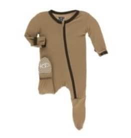 Kickee Pants Solid Footie with Zipper Tannin with Bark 3-6M