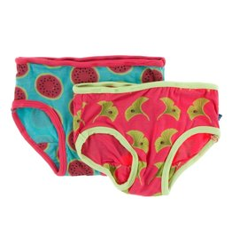 Kickee Pants Girl Underwear Set, Neptune Watermelon and Red Ginger Ginkgo