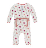 Kickee Pants Print Classic Ruffle Coverall with Snaps Natural Gems 3-6m