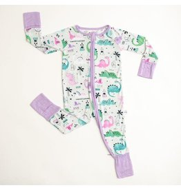 Little Sleepies Convertible Romper/Sleeper Pink/Purple Dinosaurs