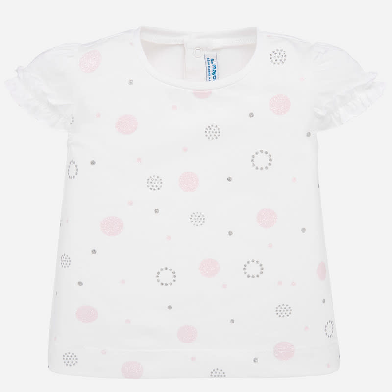 Mayoral Short Sleeved T-shirt Baby Girl Rose Dot