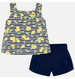 Mayoral Mayoral Short Set Girls - Navy Lemons