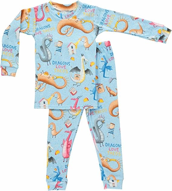 Books to Bed Dragons Love Tacos Pajama  7Y