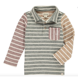 Me + Henry Green/Multi Stripe Polo, Boys 3-4Y