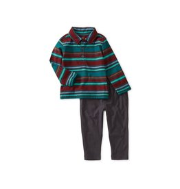 Tea Collection Baby Boy Striped Polo Set - Indigo 9-12M