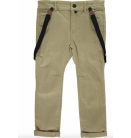 Me + Henry Olive Woven Pants with Suspenders 3-4Y