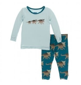 Kickee Pants Print L/S  6-12M  Pajama Set Heritage Blue Kosmoceratops Family