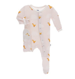 Kickee Pants Print Classic Ruffle Footie with Snaps Macaroon Puddle Duck 6-9m