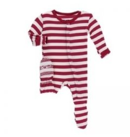 Kickee Pants Print Footie with Snaps Candy Cane Stripe 2019 0-3M