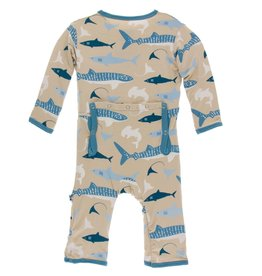 Kickee Pants Print Coverall with Zipper Burlap Sharks 12-18M