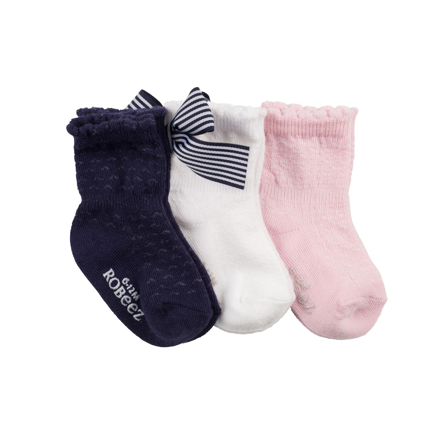 Robeez 3 Pk Socks, Girls Lovely Trio Pink/Navy