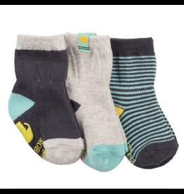 Robeez 3 Pk Socks, Boys Eli Eleph Navy/Aqua/Grey