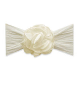 Baby Bling Bows Silk Ruffle Flower Headband: Ivory