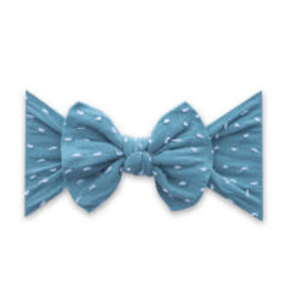 Baby Bling Bows Patterned Knot - Shabby Teal Dot