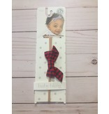 Baby Bling Bows Cotton Print Bow - Red Charcoal Check Light Band