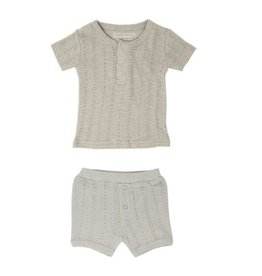 Loved Baby Pointelle S/Sleeve Henley Tee + Shorts - Stone