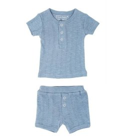 Loved Baby Pointelle S/Sleeve Henley Tee + Shorts - Pool