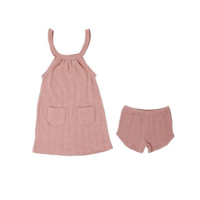 Loved Baby Pointelle Halter Dress + Short - Mauve