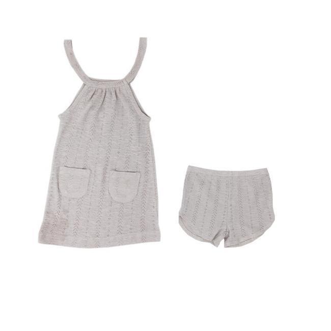 Loved Baby Pointelle Halter Dress + Short - Light Gray