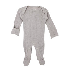 Loved Baby Pointelle Lap-Shoulder Footie - Light Gray 0-3M