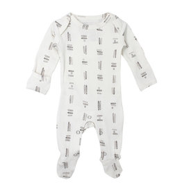 Loved Baby Organic Lap-Shoulder Footie - Gray Tribe