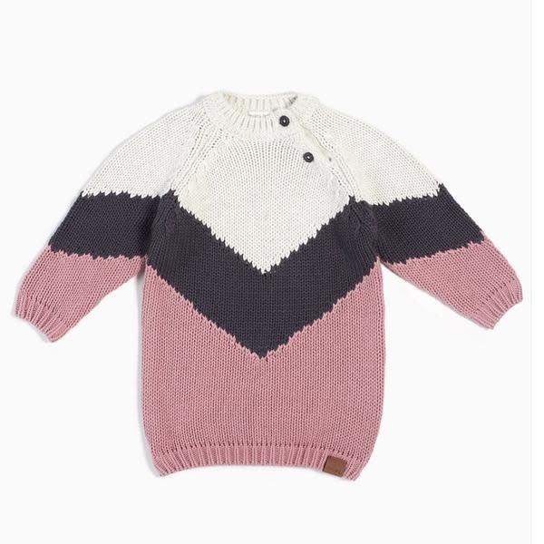 Miles Baby Chevron Knit Sweater Dress 6/7