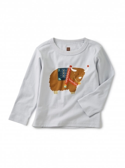 Tea Collection Yak It Up Graphic Baby Tee - Ice 2T