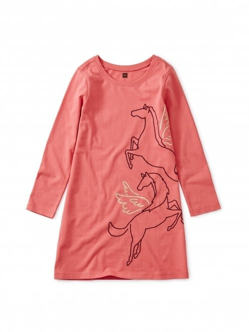 Tea Collection Metallic Wind Horse Dress - Dry Rose  2