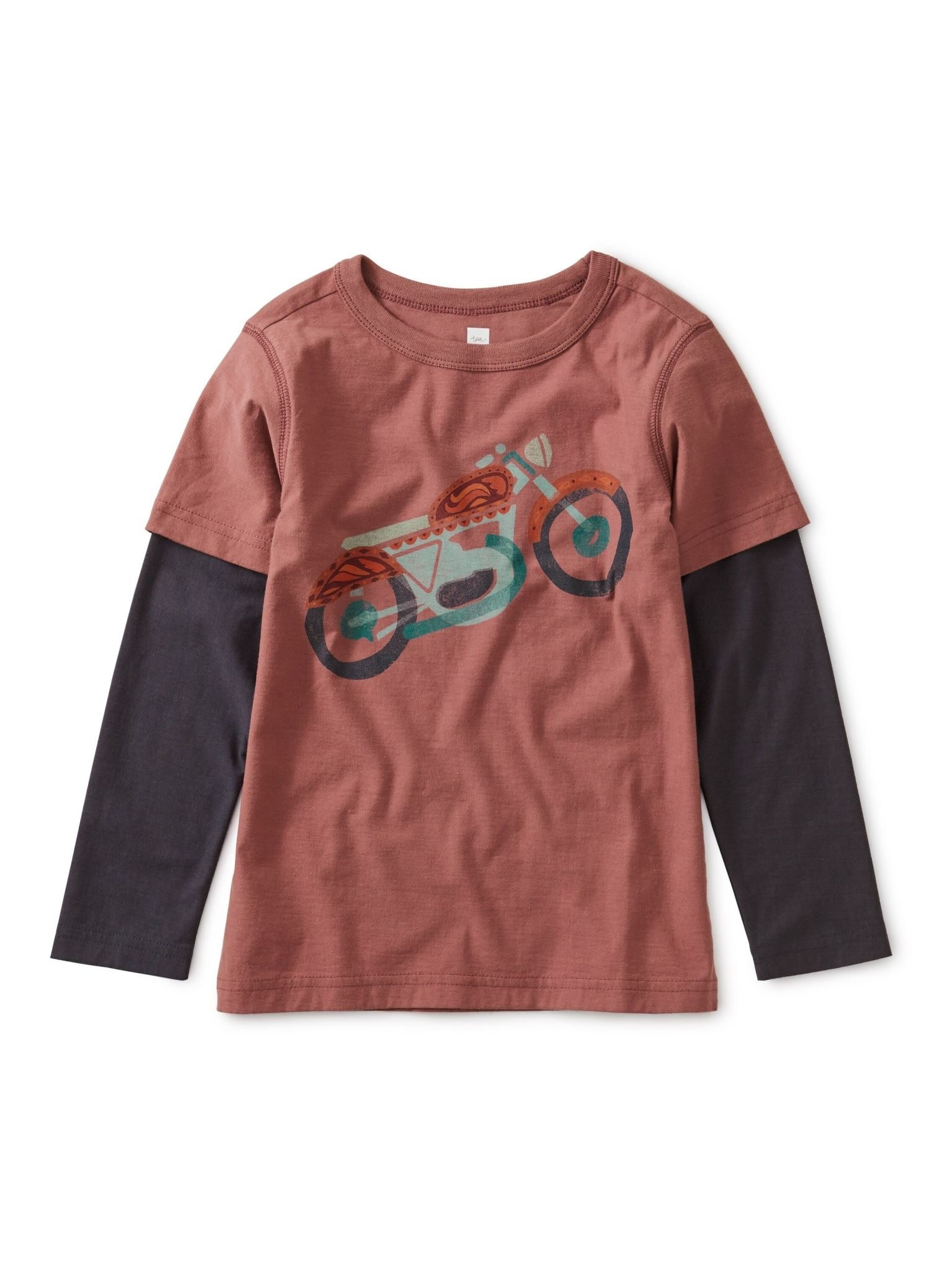 Tea Collection Motorcycle Graphic Layered Tee - Cassis   3